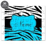 Personalizable Teal and Black Zebra Puzzle