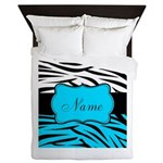 Personalizable Teal and Black Zebra Queen Duvet