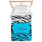 Personalizable Teal and Black Zebra Twin Duvet