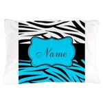 Personalizable Teal and Black Zebra Pillow Case