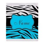 Personalizable Teal and Black Zebra Throw Blanket