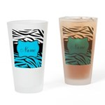 Personalizable Teal and Black Zebra Drinking Glass