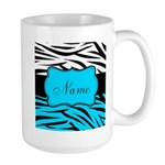 Personalizable Teal and Black Zebra Mugs