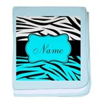 Personalizable Teal and Black Zebra baby blanket