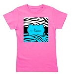 Personalizable Teal and Black Zebra Girl's Tee