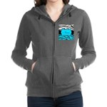 Personalizable Teal and Black Zebra Women's Zip Ho