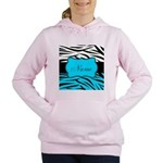 Personalizable Teal and Black Zebra Women's Hooded