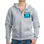 Personalizable Teal and Black Zebra Zip Hoodie