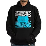 Personalizable Teal and Black Zebra Hoodie