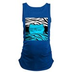 Personalizable Teal and Black Zebra Maternity Tank