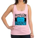 Personalizable Teal and Black Zebra Racerback Tank