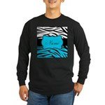 Personalizable Teal and Black Zebra Long Sleeve T-