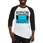 Personalizable Teal and Black Zebra Baseball Jerse