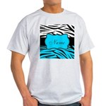 Personalizable Teal and Black Zebra T-Shirt