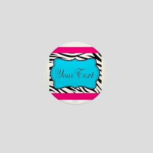 Personalizable Teal Hot Pink Zebra Mini Button
