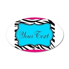 Personalizable Teal Hot Pink Zebra Wall Decal