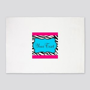 Personalizable Teal Hot Pink Zebra 5'x7'Area Rug