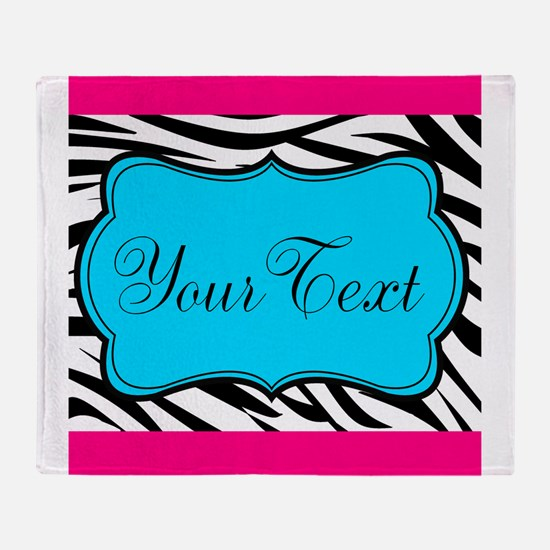 Personalizable Teal Hot Pink Zebra Throw Blanket