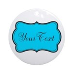 Personalizable Teal Black Round Ornament