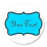 Personalizable Teal Black Round Car Magnet