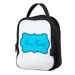 Personalizable Teal Black Neoprene Lunch Bag