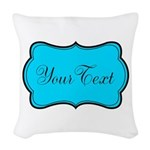 Personalizable Teal Black Woven Throw Pillow
