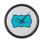 Personalizable Teal Black Large Wall Clock