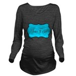 Personalizable Teal Black Long Sleeve Maternity T-