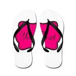 Personalizable Hot Pink and Black Flip Flops