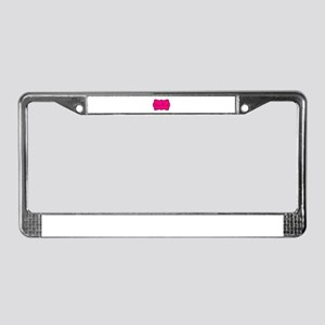 Personalizable Hot Pink and Black License Plate Fr