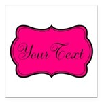 Personalizable Hot Pink and Black Square Car Magne