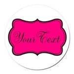 Personalizable Hot Pink and Black Round Car Magnet
