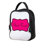 Personalizable Hot Pink and Black Neoprene Lunch B