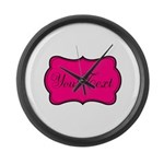 Personalizable Hot Pink and Black Large Wall Clock