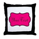 Personalizable Hot Pink and Black Throw Pillow