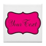 Personalizable Hot Pink and Black Tile Coaster