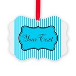 Personalizable Teal and White Ornament