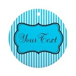 Personalizable Teal and White Round Ornament