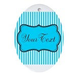 Personalizable Teal and White Oval Ornament
