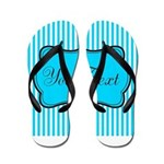 Personalizable Teal and White Flip Flops