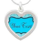 Personalizable Teal and White Necklaces