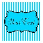 Personalizable Teal and White Square Car Magnet 3