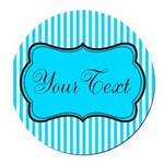 Personalizable Teal and White Round Car Magnet