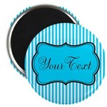 Personalizable Teal and White Magnets