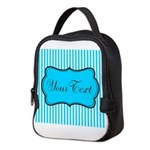 Personalizable Teal and White Neoprene Lunch Bag
