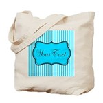 Personalizable Teal and White Tote Bag