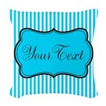 Personalizable Teal and White Woven Throw Pillow
