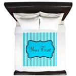 Personalizable Teal and White King Duvet