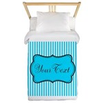 Personalizable Teal and White Twin Duvet