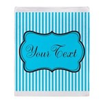 Personalizable Teal and White Throw Blanket